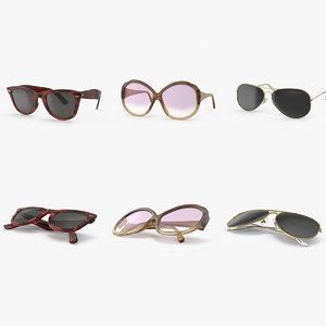 sunglasses vintage open 3d model