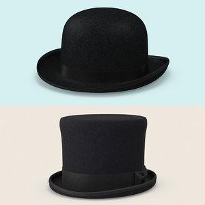 3d vintage hat set model