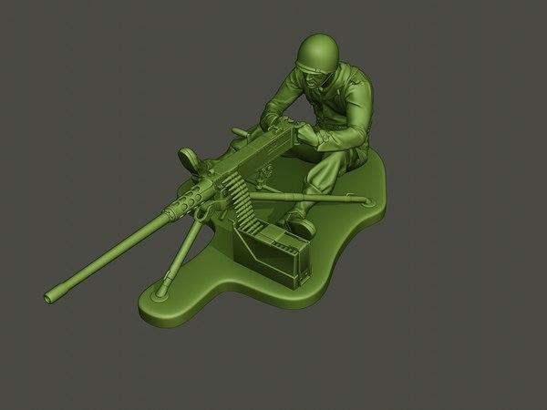 american soldier ww2 firing 3D model
