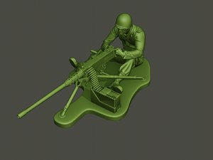 american soldier ww2 firing 3D model