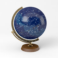 Celestial Globe with Wooden Stand and Brass Elements - Star Map