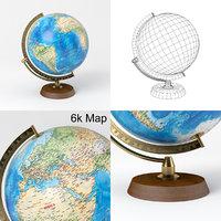 3D model globe wooden brass