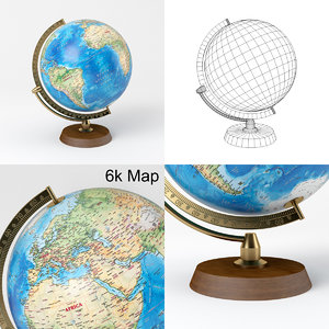 3D model globe wooden brass