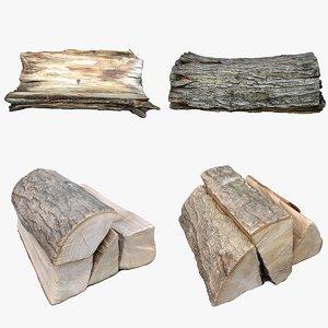 3D retopology wood log model