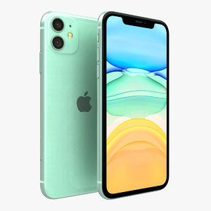 3D apple iphone 11 green