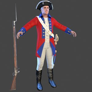 3D british redcoat soldier