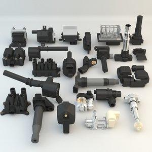 3D 24 engine car pieces model