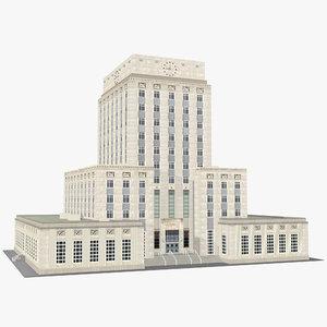 3D houston city hall texas
