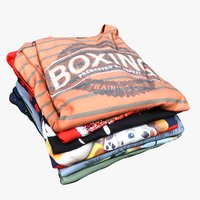 3D pile folded t-shirts