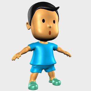 3D model boy character cartoon