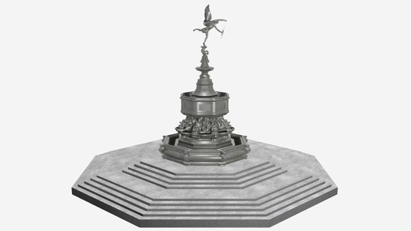 3D shaftesbury memorial fountain piccadilly model