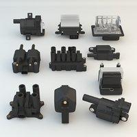 3D model 10 engine car pieces