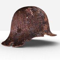 rusty ww2 helmet 3D