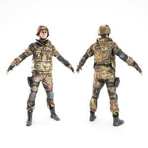 ready human soldier bundeswehr 3D
