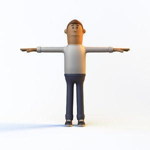 rigged cartoon man low-poly character model