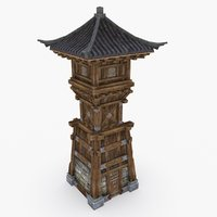 3D medieval china tower type