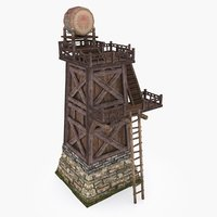 3D medieval china tower type model