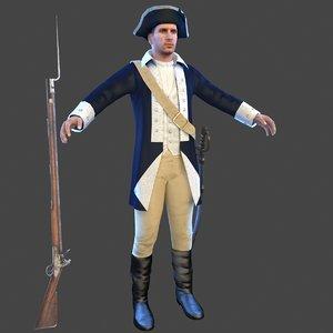 american revolution soldier 3D model