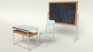 3D school furniture vintage model