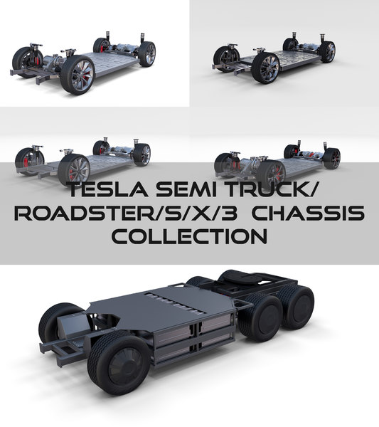 3D tesla chassis roadster 3