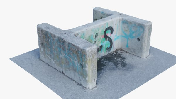 3D concrete barrier 1 model