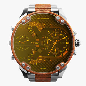 3D model realistic wrist watch diesel
