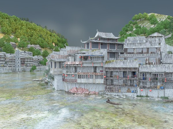 3D medieval asian river village