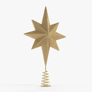golden star christmas tree 3D