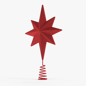 3D holiday red star christmas model