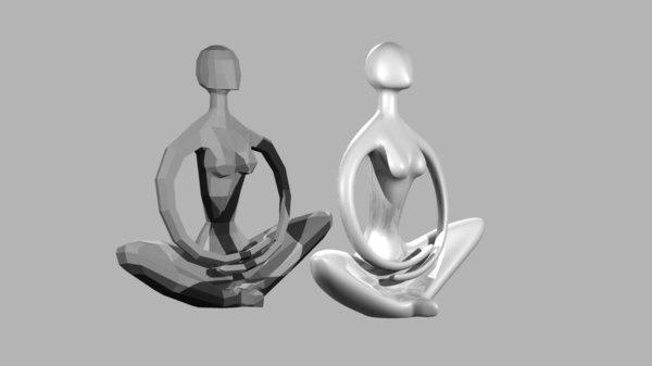 stylized sculpture yoga pose 3D model