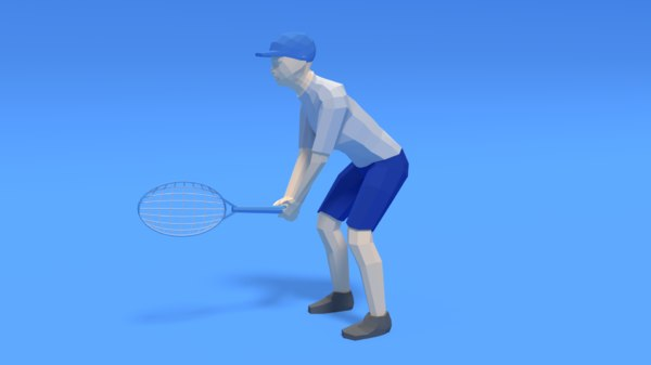 3D kid playing tennis racket model