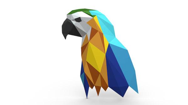 printed parrot figure 3D model