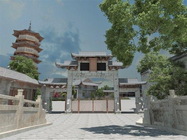 medieval asian city arc 3D model