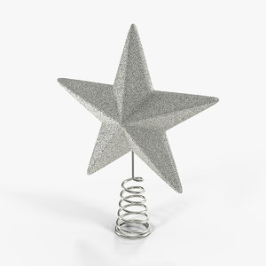3D silver star tree topper