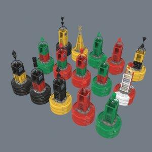 3D iala maritime buoy
