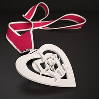 "3D Printable Medallion Pendant Ornament ""I Love You"