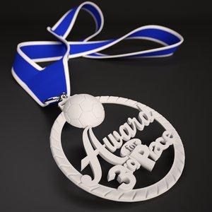 printable soccer medal 3rd 3D model