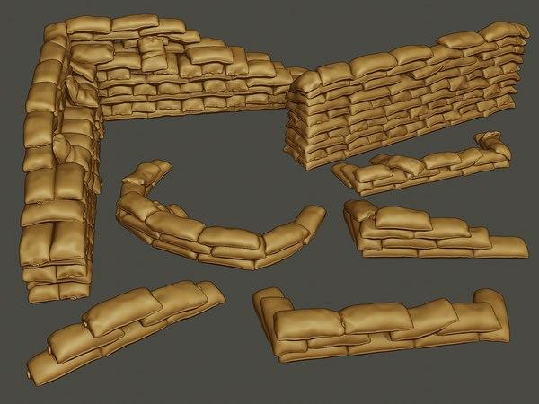 sand bags sandbags pack1 3D