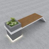 3D model street bench modern seat