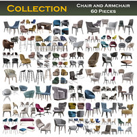 Chair and Armchair Collection 60 Pieces