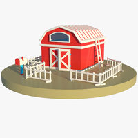 toy barn fence mailbox 3D model