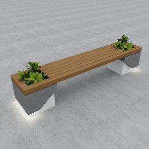 street bench modern seat model