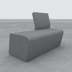 3D street bench modern garden