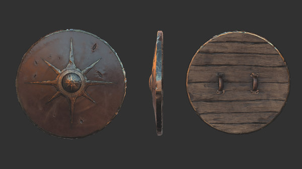 viking historical leather-covered shield model
