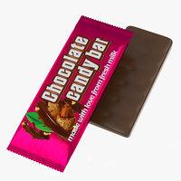 3D chocolate candy mockup bar