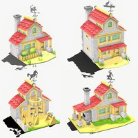 cartoon houses 3D model