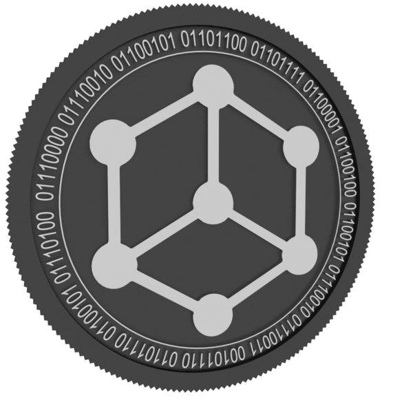 bibox token black coin 3D model