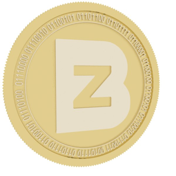 3D model bit z token gold coin