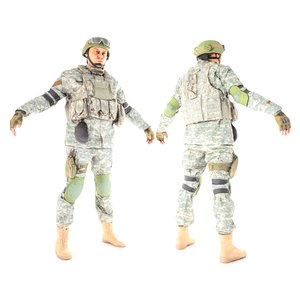 photogrammetry soldier acu character 3D model
