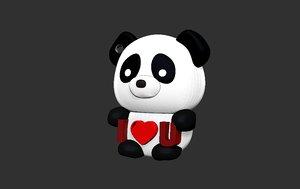 keychain panda 3D model